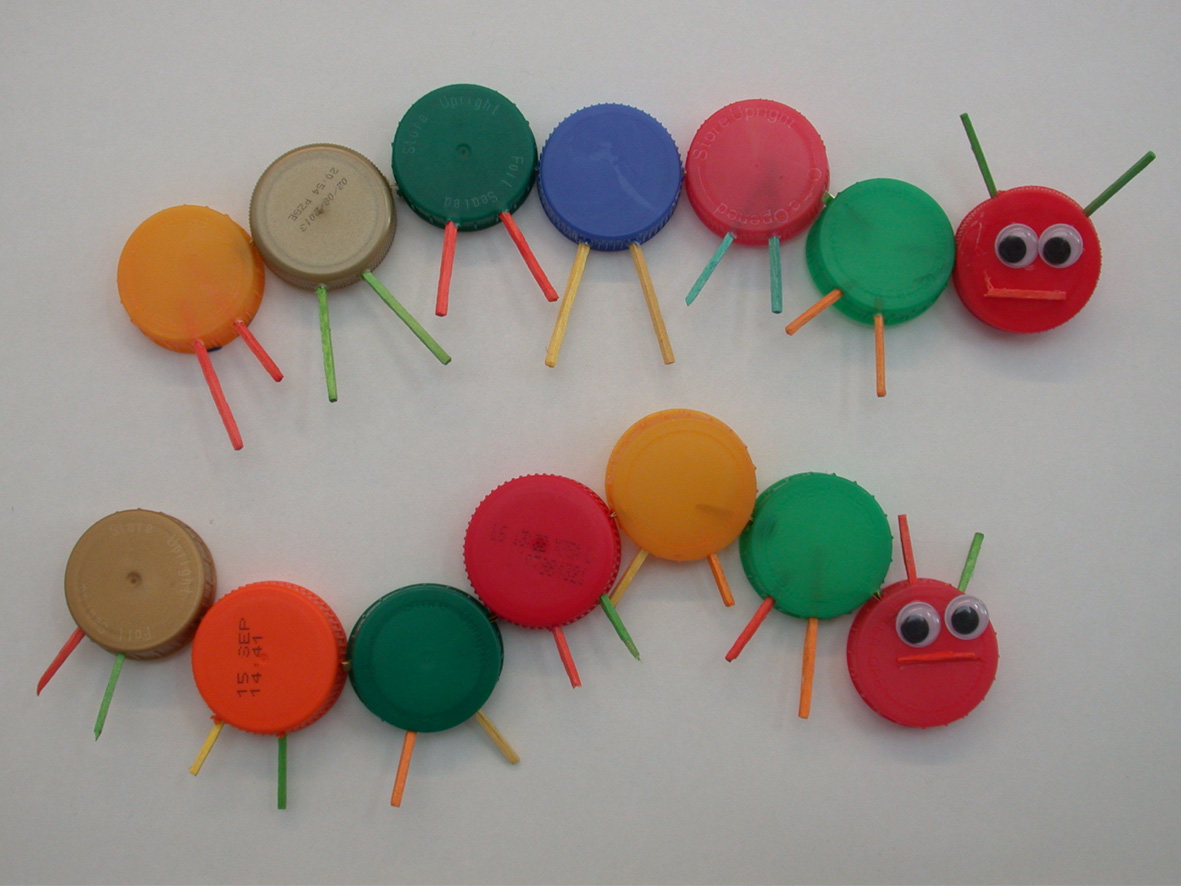 Hungry Caterpillars, made at Colour Coded workshop, Weston Park Museum, 2013